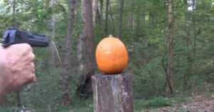 Carving a pumpkin with a gun; hickok45 does it right!