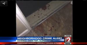 A home intruder goes door to door in search of help after being shot in the neck for breaking into the wrong home