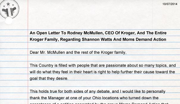 Open letter kroger open carry mda