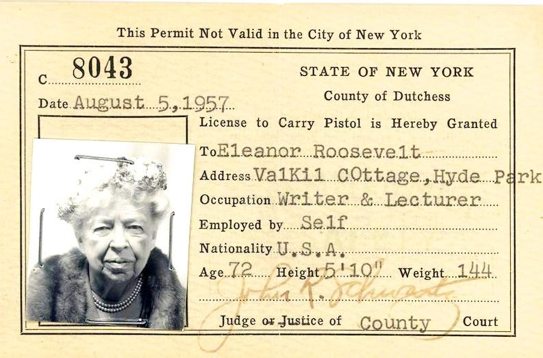 They Still Eleanor Nys Same Look Pistol And Over Nation Roosevelt Years Later Concealed 50 – Her Permit; Had The
