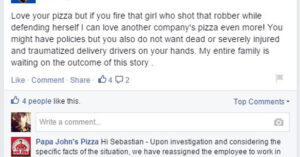 Papa John's Will Not Fire Armed Employee Who Defended Herself Against Robber; But Still No Policy Changes Coming