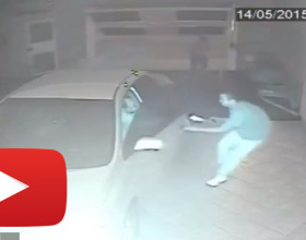 Intense Video Shows Man Shooting At Armed Robbers Entering His Garage