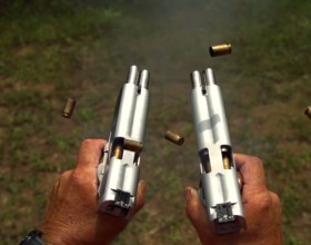 Amazing Slow Motion Video Of Two Double Barrel 1911's Fired At The Same Time