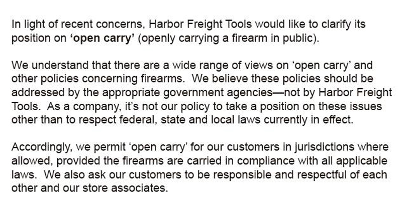 Harbor Freight Jk You Can Carry In Our Stores Concealed Nation
