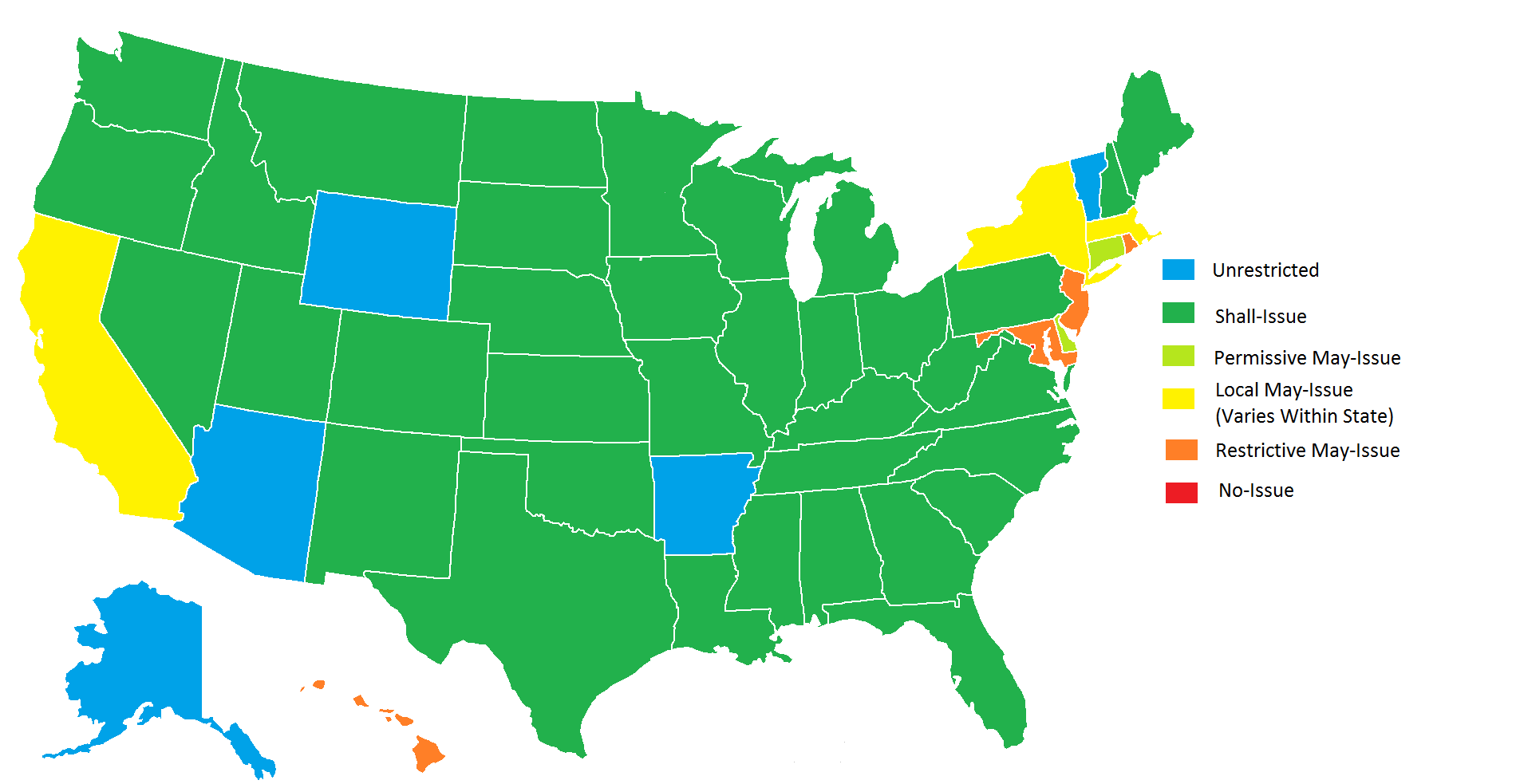 shall issue states map Concealed Carry Breakdown Where May Issue Is Essentially No
