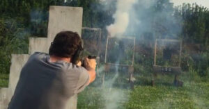 [VIDEO] Guy Shoots Fireworks At Himself While Shooting To Simulate Stress, Is He Nuts Or Brilliant?