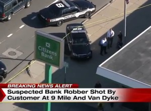 [BREAKING] Bank Robber Shot By Concealed Carrying Customer In Michigan