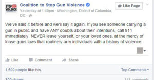 Coalition To Stop Gun Violence Tells Members To Call 911 Anytime They See Someone Openly Carrying A Firearm. Again.