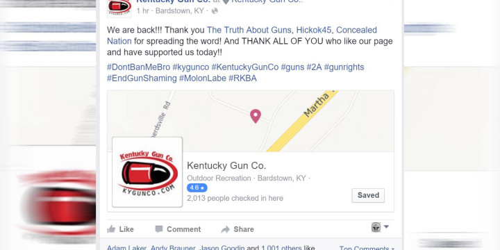 Kentucky gun company facebook ban