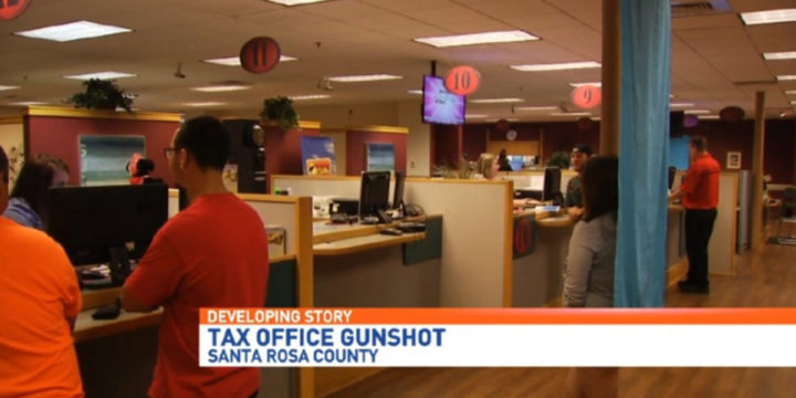 Gun goes off in tax collectors office