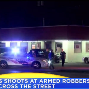 Ccw shoots across 4 lanes of traffic at robbers