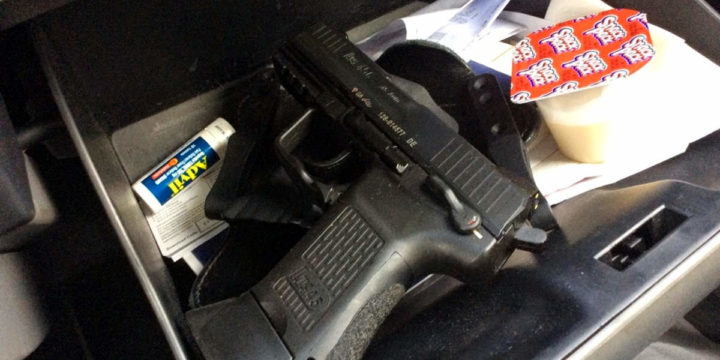 Handgun in glovebox