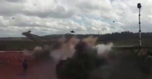 [VIDEO] Russian Helicopter Accidentally Fires Missile At Bystanders During War Games