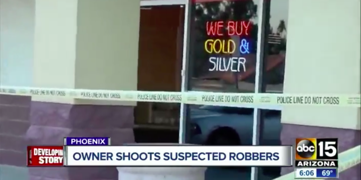 The Phoenix Police Department says a business owner shot a robbery suspect and held him at gunpoint until police arrived. The incident happened at a business near Greenway Road and Tatum Boulevard around 2:30 p.m. Friday. Police say the injured suspect, and 28-year-old Brittany Reid, arrived at the store about an hour before it opened and waited in the parking lot for the owner to come. They reportedly followed him into the store when the male suspect produced a handgun. The business owner ducked behind the counter and pulled his handgun, shooting the male suspect in the leg.