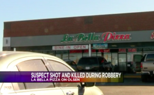 La Bella Pizza on Olsen was working Tuesday to pass inspections and re-open a week after a would-be robber was shot and killed there by an armed employee, according to a statement from the restaurant released through Facebook.