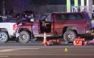 A crash in Fridley led to a confrontation with a knife and ended in a shooting, according to Fridley police. Wednesday at 4:20 p.m., officers responded to a crash involving four vehicles at the intersection of Central Ave NE at Medtronic Parkway NE. Callers told authorities a man, who was involved in the crash, had a knife and was trying to assault other people involved in the crash.
