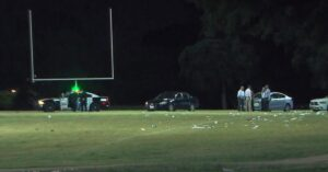 Moped Rider Flies Onto Football Field and Opens Fire