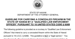 Hawaii Bans Out-Of-State LEO's From Carrying Firearms