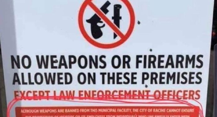 Firearms prohibited sign cut