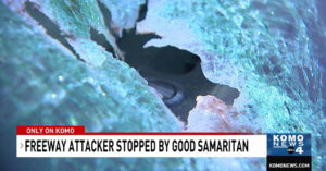 Armed Samaritan Fights off Crazed Man Smashing Cars and Terrorizing Drivers On Highway
