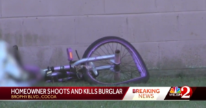 Burglar Uses Bicycle To Smash Through House Window, Homeowner Shoots Him Before He Can Get Inside