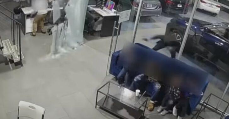 [VIDEO] Hero Dad Shields His Three Children As Gunfire Erupts Inside Bronx Car Dealership