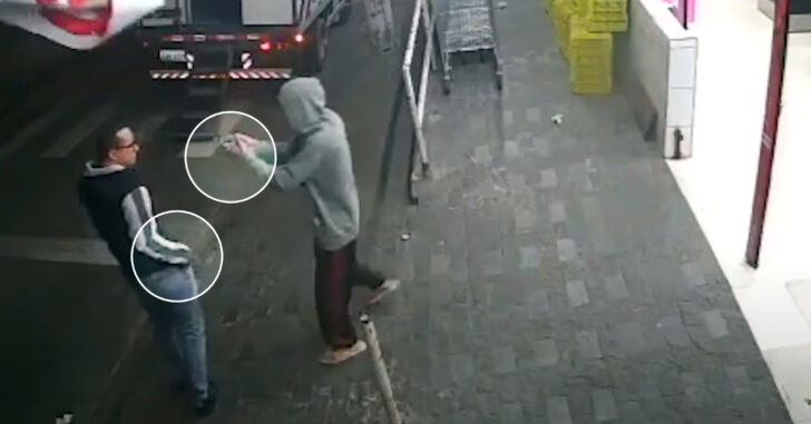 Man Moves Quick To Get First Shot On Armed Robber Who Has Gun Pointed At His Face