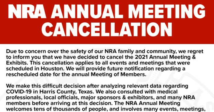NRA Annual Meeting Officially Cancelled For 2021